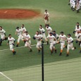 野球部勝利の喜び